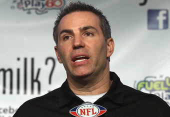 INDIANAPOLIS, IN - FEBRUARY 02:  Former NFL quarterback Kurt Warner speaks during the got milk? press conference at the Super Bowl XLVI Media Center in the J.W. Marriott Indianapolis on February 2, 2012 in Indianapolis, Indiana.  (Photo by Win McNamee/Get