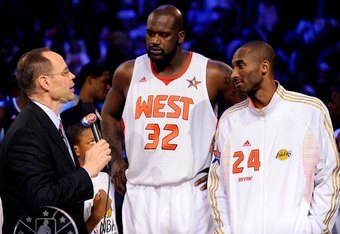PHOENIX - FEBRUARY 15:  Co-MVPs Shaquille O'Neal #32 and Kobe Bryant #24 of the Western Conference are interviewed by TNT's Ernie Johnson after the Western Conference defeated the Eastern Conference in the 58th NBA All-Star Game, part of 2009 NBA All-Star
