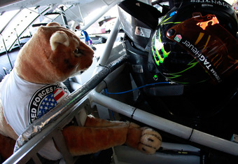 TALLADEGA, AL - MAY 04:  A stuffed cougar is seen in the #51 Phoenix Construction Services Chevrolet of Kurt Busch in the garage area during practice for the NASCAR Sprint Cup Series Aaron's 499 at Talladega Superspeedway on May 4, 2012 in Talladega, Alab