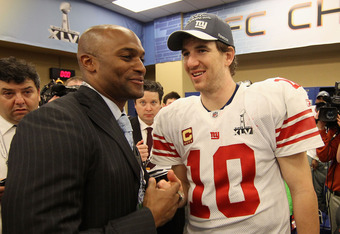 Former receiver Amani Toomer with his former QB Eli Manning