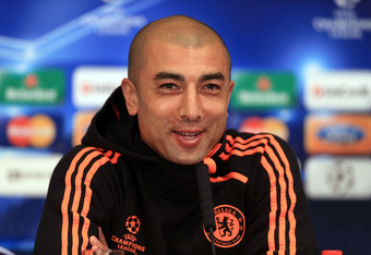 LONDON, ENGLAND - APRIL 03:  Roberto Di Matteo of Chelsea speaks during a press conference prior to the Champions League Quarter final, second leg match between Chelsea and Benfica at Stamford Bridge on April 3, 2012 in London, United Kingdom.  (Photo by
