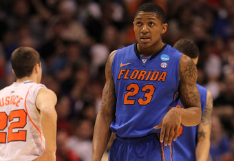 PHOENIX, AZ - MARCH 24:  Bradley Beal #23 of the Florida Gators reacts in the first half while taking on the Louisville Cardinals during the 2012 NCAA Men's Basketball West Regional Final at US Airways Center on March 24, 2012 in Phoenix, Arizona.  (Photo