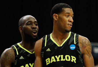ATLANTA, GA - MARCH 25:  Perry Jones III #1 and Quincy Acy #4 of the Baylor Bears react against the Kentucky Wildcats during the 2012 NCAA Men's Basketball South Regional Final at the Georgia Dome on March 25, 2012 in Atlanta, Georgia.  (Photo by Streeter