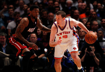 NEW YORK, NY - MAY 03:  Steve Novak #16 of the New York Knicks looks to drive against Udonis Haslem #40 of the Miami Heat in Game Three of the Eastern Conference Quarterfinals in the 2012 NBA Playoffs on May 3, 2012 at Madison Square Garden in New York Ci