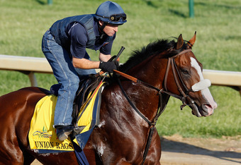 LOUISVILLE, KY - MAY 02:  Union Rags trains on the track in preparation for the 138th Kentucky Derby at Churchill Downs on May 2, 2012 in Louisville, Kentucky.  (Photo by Rob Carr/Getty Images)