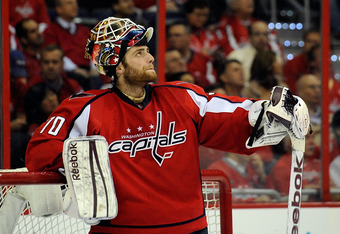 WASHINGTON, DC - MAY 02:  Braden Holtby #70 of the Washington Capitals reacts after a play against the New York Rangers in Game Three of the Eastern Conference Semifinals during the 2012 NHL Stanley Cup Playoffs at the Verizon Center on May 2, 2012 in Was