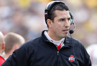 ANN ARBOR, MI - NOVEMBER 26:  Head coach Luke Fickell of the Ohio State Buckeyes looks on from the sideline while playing the Michigan Wolverines at Michigan Stadium on November 26, 2011 in Ann Arbor, Michigan. Michigan won the game 40-34. (Photo by Grego