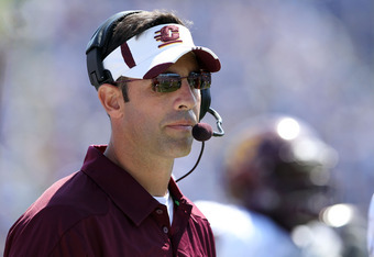 LEXINGTON, KY - SEPTEMBER 10:  Dan Enos the head coach of the Central Michigan Chipewas takes in the action during the game against the Kentucky Wildcats at Commonwealth Stadium on September 10, 2011 in Lexington, Kentucky.  (Photo by Andy Lyons/Getty Ima