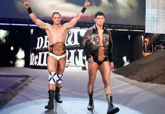 Drew McIntyre and Cody Rhodes as WWE Tag Team Champions