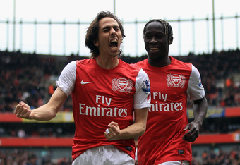 LONDON, ENGLAND - MAY 05:  Yossi Benayoun of Arsenal celebrates scoring during the Barclays Premier League match between Arsenal and Norwich City at the Emirates Stadium on May 5, 2012 in London, England.  (Photo by Bryn Lennon/Getty Images)