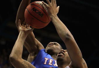 LAWRENCE, KS - DECEMBER 29:  Markieff Morris #21 of the Kansas Jayhawks battles for a rebound during the game against the University of Texas Arlington Mavericks on December 29, 2010 at Allen Fieldhouse in Lawrence, Kansas.  (Photo by Jamie Squire/Getty I