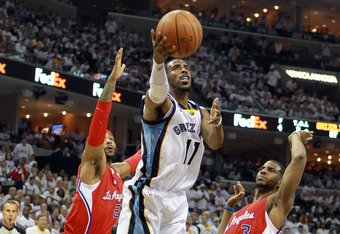 MEMPHIS, TN - MAY 02:  Mike Conley #11 of the Memphis Grizzlies shoots the ball against the Los Angeles Clippers in Game Two of the Western Conference Quarterfinals in the 2012 NBA Playoffs at FedExForum on May 2, 2012 in Memphis, Tennessee.  NOTE TO USER