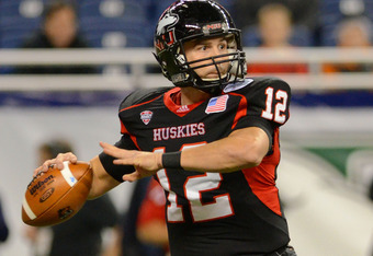DETROIT, MI - DECEMBER 02:  Chandler Harnish #12 of the Northern Illinois Huskies throws a pass in the first quarter of the MAC Championship game against the Ohio Bobcats at Ford Field on December 2, 2011 in Detroit, Michigan. The Huskies defeated the Bob