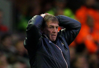 LIVERPOOL, ENGLAND - MAY 01:  Liverpool Manager Kenny Dalglish reacts during the Barclays Premier League match between Liverpool and Fulham at Anfield on May 1, 2012 in Liverpool, England. (Photo by Clive Brunskill/Getty Images)