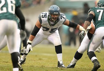 PHILADELPHIA - DECEMBER 2:  Sean Locklear #75 of the Seattle Seahawks looks on during the NFL game against the Philadelphia Eagles at the Lincoln Financial Field on December 2, 2007 in Philadelphia, Pennsylvania. (Photo by Al Bello/Getty Images)