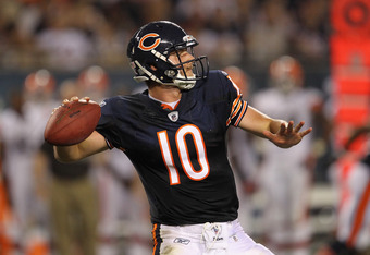 CHICAGO, IL - SEPTEMBER 01: Nathan Enderle #10 of the Chicago Bears throws a pass against the Cleveland Browns during a preseason game at Soldier Field on September 1, 2011 in Chicago, Illinois.  (Photo by Jonathan Daniel/Getty Images)