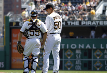 Pitcher Charlie Morton and catcher Michael McKenry discuss strategy in Pittsburgh's 5-0 loss on Sunday.