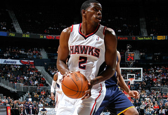 ATLANTA, GA - FEBRUARY 08:  Joe Johnson #2 of the Atlanta Hawks against the Indiana Pacers at Philips Arena on February 8, 2012 in Atlanta, Georgia.  NOTE TO USER: User expressly acknowledges and agrees that, by downloading and or using this photograph, U