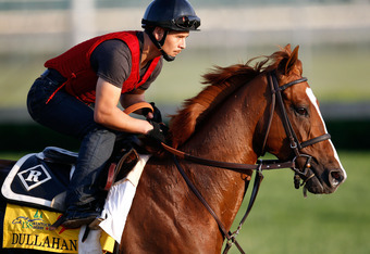 LOUISVILLE, KY - MAY 04:   Dullahan trains on the track in preparation for the 138th Kentucky Derby at Churchill Downs at Churchill Downs on May 4, 2012 in Louisville, Kentucky.  (Photo by Rob Carr/Getty Images)