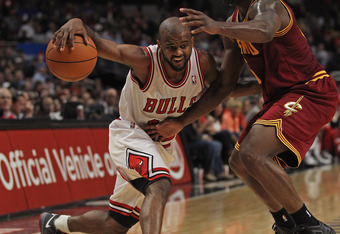 CHICAGO, IL - APRIL 26: John Lucas III #15 of the Chicago Bulls, who scored a game and career high 25 points, moves against Donald Sloan #15 of the Cleveland Cavaliers at the United Center on April 26, 2012 in Chicago, Illinois. The Bulls defeated the Cav