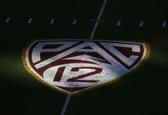 TEMPE, AZ - OCTOBER 29:  The PAC 12 logo on the field during the college football game between the Arizona State Sun Devils and the Colorado Buffaloes at Sun Devil Stadium on October 29, 2011 in Tempe, Arizona.  The Sun Devils defeated the Buffaloes 48-14