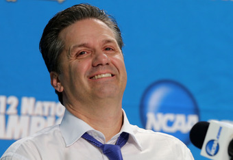 NEW ORLEANS, LA - APRIL 02:  Head coach John Calipari of the Kentucky Wildcats smiles during the post game news conference after the Wildcats 67-59 victory against the Kansas Jayhawks in the National Championship Game of the 2012 NCAA Division I Men's Bas