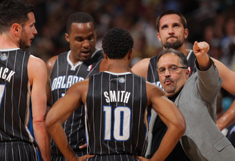 DENVER, CO - APRIL 22:  Head coach Stan Van Gundy leads the Orlando Magic against the Denver Nuggets at Pepsi Center on April 22, 2012 in Denver, Colorado. NOTE TO USER: User expressly acknowledges and agrees that, by downloading and or using this photogr
