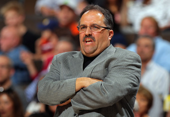 DENVER, CO - APRIL 22:  Head coach Stan Van Gundy leads the Orlando Magic against the Denver Nuggets at Pepsi Center on April 22, 2012 in Denver, Colorado. The Nuggets defeated the Magic 101-74. NOTE TO USER: User expressly acknowledges and agrees that, b