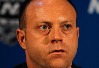 CHICAGO - MAY 27: General Manager Stan Bowman of the Chicago Blackhawks answers questions during Stanley Cup media day at the United Center on May 27, 2010 in Chicago, Illinois. (Photo by Jonathan Daniel/Getty Images)