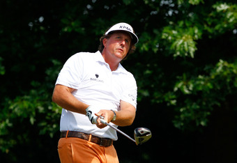 CHARLOTTE, NC - MAY 05:  Phil Mickelson of the United States hits his tee shot on the 16th hole during the third round of the Wells Fargo Championship at the Quail Hollow Club on May 5, 2012 in Charlotte, North Carolina.  (Photo by Mike Ehrmann/Getty Imag