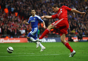 LONDON, ENGLAND - MAY 05:  Andy Carroll of Liverpool shoots at goal during the FA Cup with Budweiser Final match between Liverpool and Chelsea at Wembley Stadium on May 5, 2012 in London, England.  (Photo by Clive Brunskill/Getty Images)