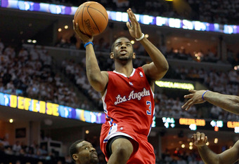 MEMPHIS, TN - MAY 02:  Chris Paul #3 of the Los Angeles Clippers shoots the ball against the Memphis Grizzlies in Game Two of the Western Conference Quarterfinals in the 2012 NBA Playoffs at FedExForum on May 2, 2012 in Memphis, Tennessee.  NOTE TO USER: