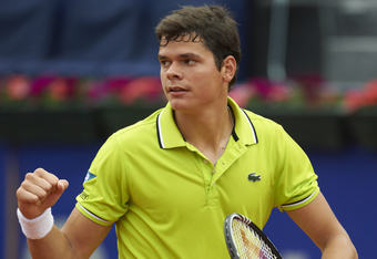 BARCELONA, SPAIN - APRIL 27:  Milos Raonic of Canada celebrates after defeating Andy Murray of Great Britain during their match on day 5 of the ATP 500 World Tour Barcelona Open Banco Sabadell 2012 tennis tournament at the Real Club de Tenis on April 27,