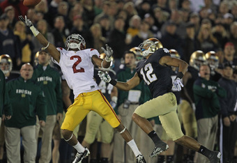 SOUTH BEND, IN - OCTOBER 22: Robert Woods #2 of the University of Southern California Trojans can't reach a pass as Robert Blanton #12 of the Notre Dame Fighting Irish defends at Notre Dame Stadium on October 22, 2011 in South Bend, Indiana. (Photo by Jon