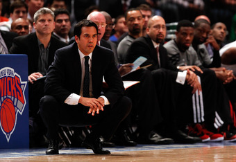 NEW YORK, NY - MAY 06:  Head coach Erik Spoelstra of the Miami Heat coaches in the first half against the New York Knicks in Game Four of the Eastern Conference Quarterfinals in the 2012 NBA Playoffs on May 6, 2012 at Madison Square Garden in New York Cit