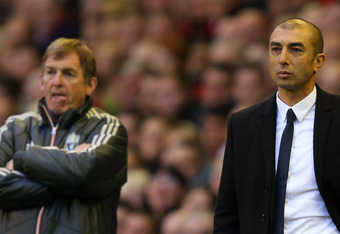 LIVERPOOL, ENGLAND - MAY 08:  Manager Kenny Dalglish of Liverpool and Manager Roberto Di Matteo of Chelsea look on during the Barclays Premier League match between Liverpool and Chelsea at Anfield on May 8, 2012 in Liverpool, England.  (Photo by Alex Live