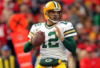 KANSAS CITY, MO - DECEMBER 18:  Quarterback Aaron Rodgers #12 of the Green Bay Packers in action during the game against the Kansas City Chiefs on December 18, 2011 at Arrowhead Stadium in Kansas City, Missouri.  (Photo by Jamie Squire/Getty Images)