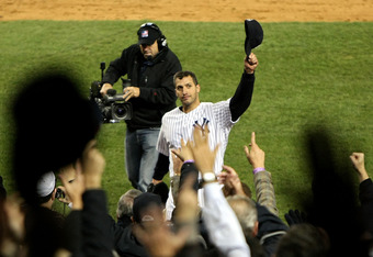 NEW YORK - NOVEMBER 04:  Andy Pettitte #46 of the New York Yankees tips his hat to the crowd as he was taken out of the game in the top of the sixth inning against the Philadelphia Phillies in Game Six of the 2009 MLB World Series at Yankee Stadium on Nov