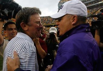 South Carolina head coach Steve Spurrier (left) and LSU head coach Les Miles