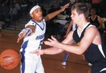 Morgan (in white) playing defense