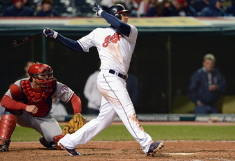 CLEVELAND, OH - APRIL 27: Michael Brantley #23 of the Cleveland Indians hits an RBI double during the seventh inning against the Los Angeles Angels of Anaheim at Progressive Field on April 27, 2012 in Cleveland, Ohio. (Photo by Jason Miller/Getty Images)