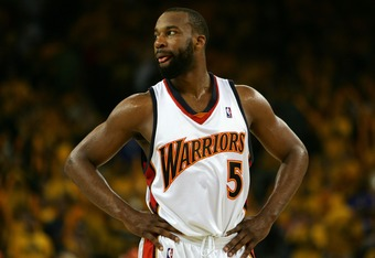 OAKLAND, CA - MAY 13:  Baron Davis #5 of the Golden State Warriors looks on in Game 4 of the Western Conference Semifinals against the Utah Jazz during the 2007 NBA Playoffs on May 13, 2007 at Oracle Arena in Oakland, California. The Jazz defeated the War
