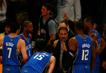 Van Gundy coaching his team during the 2009 NBA finals. Seen wearing #1 is Rafer Alston, the starting point guard for only 3 months prior to the Finals run.