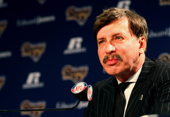 EARTH CITY, MO - JANUARY 17: St. Louis Rams owner Stan Kroenke addresses the media during a press conference at the Russell Training Center on January 17, 2012 in Earth City, Missouri.  (Photo by Dilip Vishwanat/Getty Images)