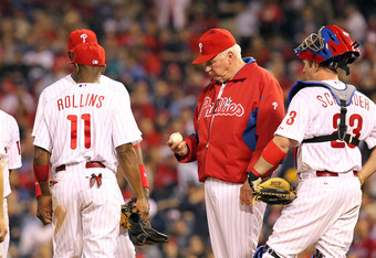 Phillies manager Charlie Manuel wonders if he could pitch better than any of his relievers.