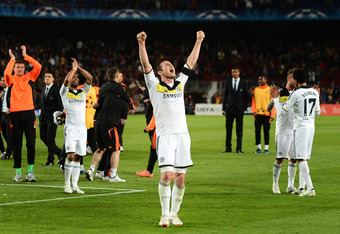 BARCELONA, SPAIN - APRIL 24:  Frank Lampard (C) of Chelsea celebrates at the end of the UEFA Champions League Semi Final second leg match between FC Barcelona and Chelsea FC at the Camp Nou stadium on April 24, 2012 in Barcelona, Spain.  (Photo by Jasper