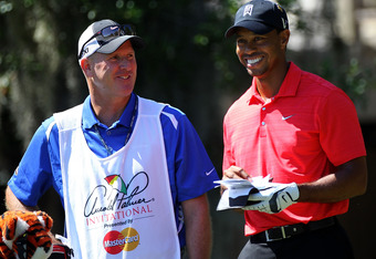 Tiger Woods and his Caddy Joe LaCava won at the 2012 Arnold Palmer Invitational.