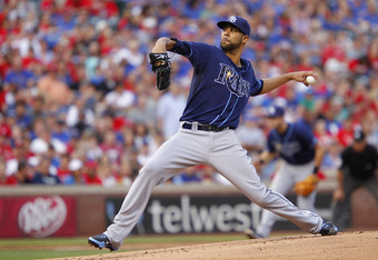 ARLINGTON, TX - APRIL 29: David Price #14 of the Tampa Bay Rays delivers a pitch against the Texas Rangers at Rangers Ballpark in Arlington on April 29, 2012 in Arlington, Texas. (Photo by Rick Yeatts/Getty Images)