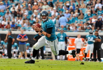 JACKSONVILLE, FL - JANUARY 01:  Quarterback Blaine Gabbert #11 of the Jacksonville Jaguars runs from the pocket against the Indianapolis Colts January 1, 2012 at EverBank Field in Jacksonville, Florida.  (Photo by Al Messerschmidt/Getty Images)