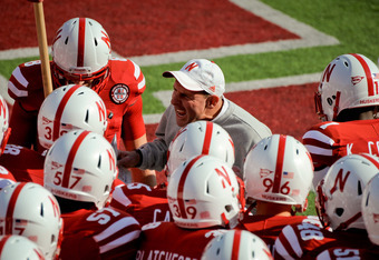 LINCOLN, NE - NOVEMBER 05: Nebraska Cornhuskers coach Bo Pelini prepares to take the field with his team against the Northwestern Wildcats at Memorial Stadium November 5, 2011 in Lincoln, Nebraska.  Northwestern beat Nebraska 28-25. (Photo by Eric Francis